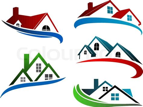 building symbols with home roofs for real estate business