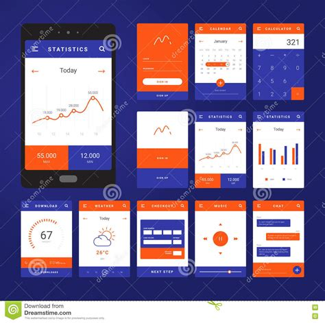 mobile app layout template ui ux and gui template layout for mobile apps vector