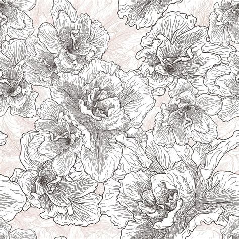 hand drawn flower pattern seamless hand drawn pattern with hibiscus flowers stock