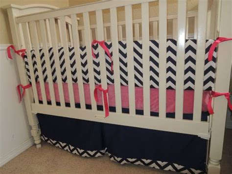 pink and navy crib bedding navy blue chevron and pink custom baby bedding set by