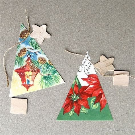 vintage christmas card ornaments   tree