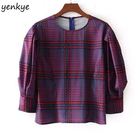Bj 0141 Neck Casual Blouse aliexpress buy 2018 vintage plaid blouse o neck puff sleeve shirt brand casual crop