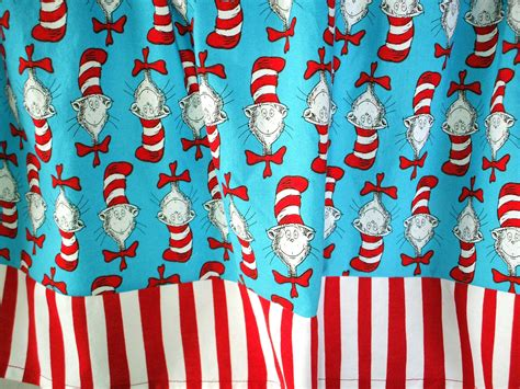 Dr Seuss Valance valance dr seuss cat in the hat with and white bottom