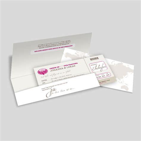 hochzeitseinladung ticket hochzeitseinladung flugticket weltenbummler