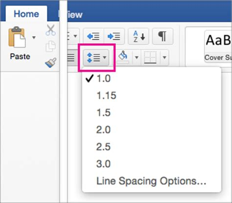 Change the default line spacing in Word for Mac   Word for Mac