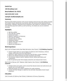 Welding Inspector Resume professional qc welding inspector templates to showcase