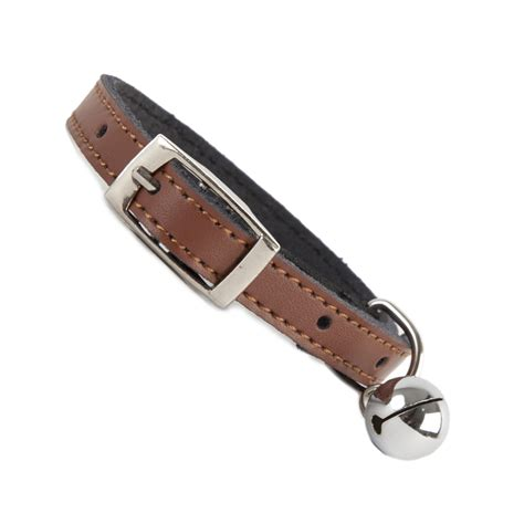 leather collar plain brown leather cat collar coolcatcollars co uk