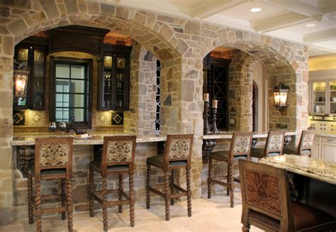 Italianate House Plans stone bar with arched facade mediterranean kitchen