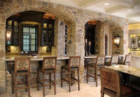 Stone Bar with Arched Facade   Mediterranean   Kitchen