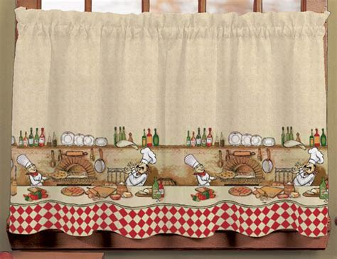 italian chef window curtain set kitchen valance