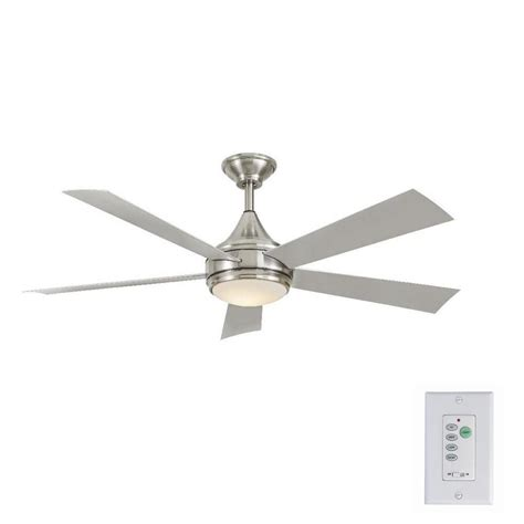 Stainless Steel Ceiling Fans With Lights Home Decorators Collection Hanlon 52 In Integrated Led Indoor Outdoor Stainless Steel Ceiling