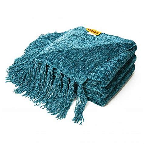 turquoise chenille sofa throw blanket dozzz decorative throw sofa couch chenille throw blanket