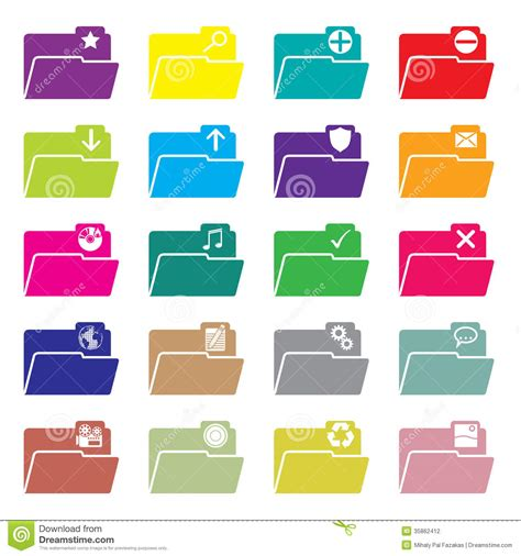 design icon folder flat folder icon set of 20 stock vector image of isolated