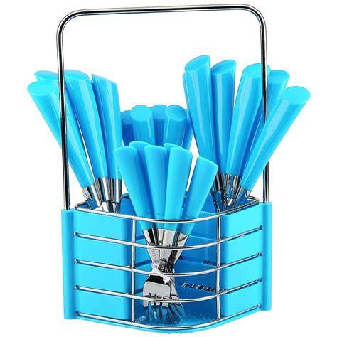 Sendok Set Polkadot 24pcs Keranjang sendok garpu pisau set stainless steel polkadot 24pcs cutlery dapur kitchen new 723 barang