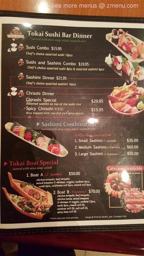 menu  tokai sushi restaurant corona california