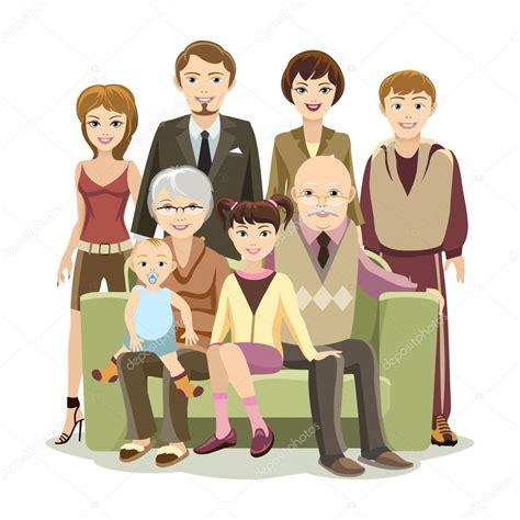 imagenes sobre la familia en caricatura gran familia feliz caricatura en el sof 225 vector de stock