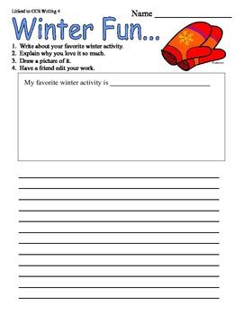 Writing Templates For 3rd Grade by Winter Third Grade Writing Prompt Common