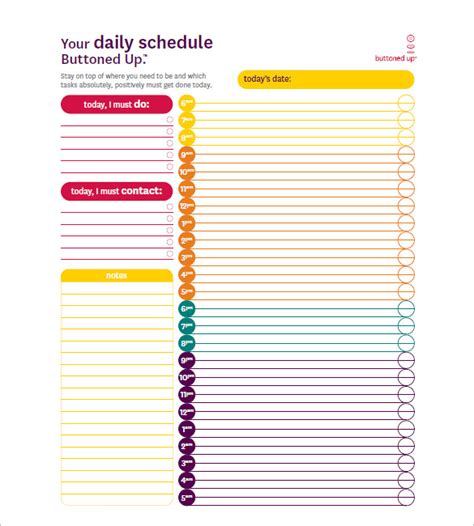 hourly schedule template 32 free word excel pdf