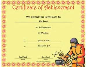 this welding achievement certificate features a welder in