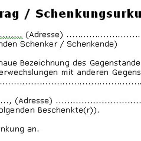 Schenkungsvertrag Auto by Schenkungsvertrag Schenkungsurkunde Deutsche