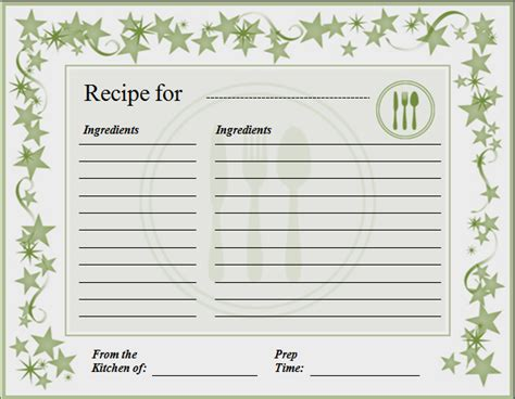 Cookie Recipe Card Template Word by Ms Word Recipe Card Template Word Excel Templates