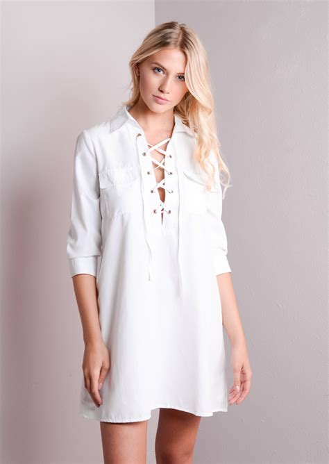 Up Front lace up front shirt dress white