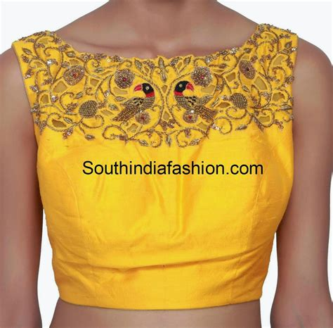 boat neck zardosi work blouse south india fashion - Boat Neck Work Tops