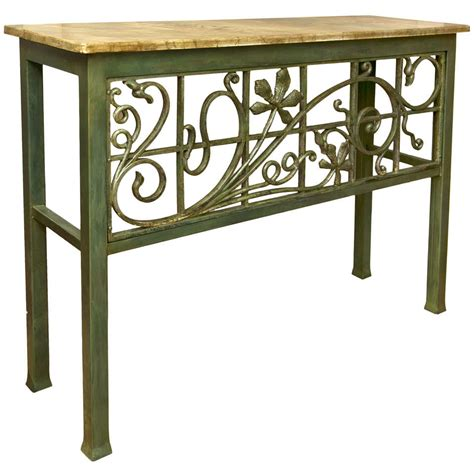 rod iron sofa table painted wrought iron console table at 1stdibs