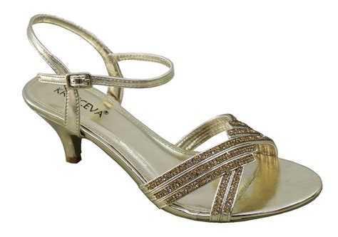 gold low heel sandals new sparkly low heel evening sandals gold silver