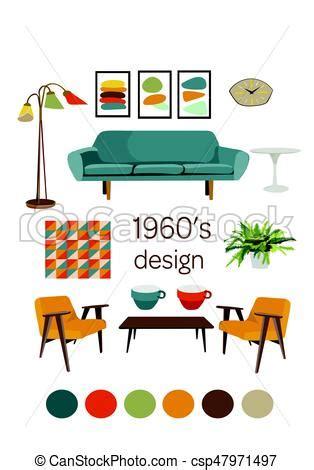 mid century home blueprint royalty free stock image interior design 1960 mid century modern furniture mood