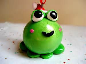 christmas ornament frog with santa hat polymer clay frog