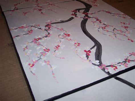 cherry blossom branch speed painting grey original painting blooming cherry blossom branch