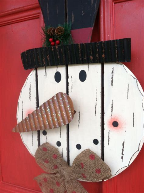 snowman door decor wooden snowman wreath by