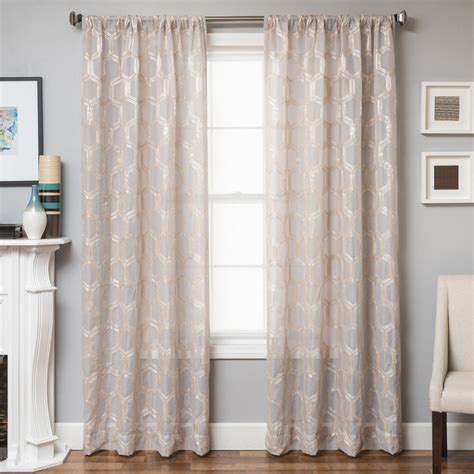 geometric curtain brach geometric applique sheer curtain panel