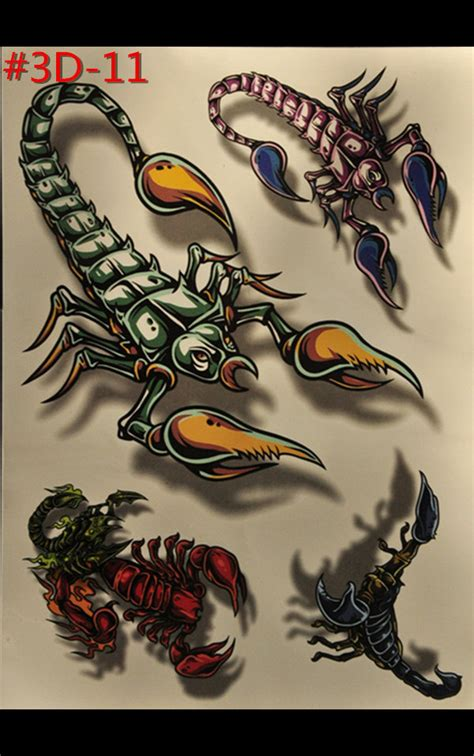 9 flash temporary and jewelry tattoos 3 d scorpion fashion accessories temporary tattoos