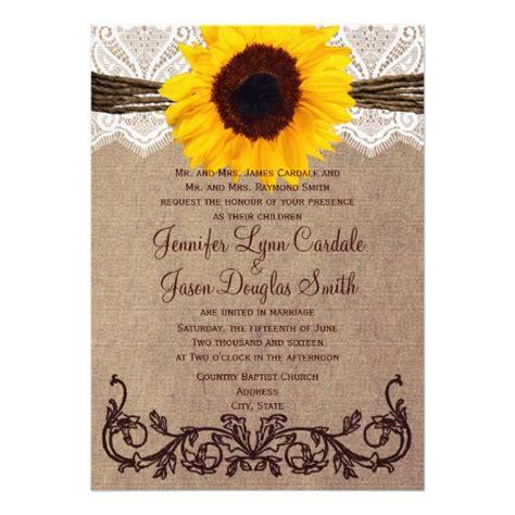 sunflower wedding invites rustic country sunflower wedding invitations 5 quot x 7