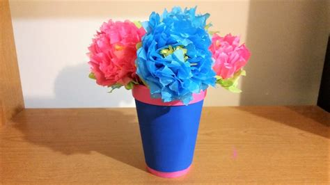 paper flower pot tutorial diy tissue paper flowers with leaves and flower pot youtube