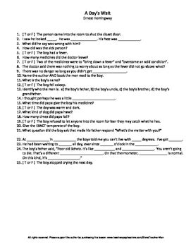 ernest hemingway biography worksheet middle school a day s wait by ernest hemingway guided
