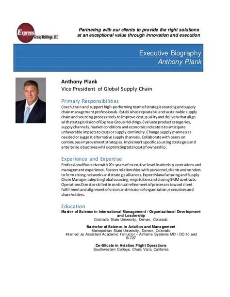 biography exle scientist executive bio