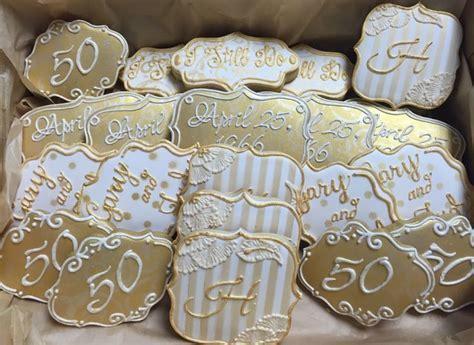 50th wedding anniversary cookies in cream & gold   My very