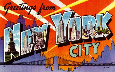 greetings from new york city vintage large letter postcard