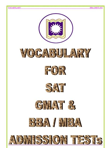 Vocabulary For Mba Admission Test vocabulary for sat gmat bba mba admission test