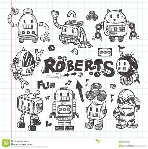 doodle drawing illustrator set of doodle robot icons illustrator line tools stock
