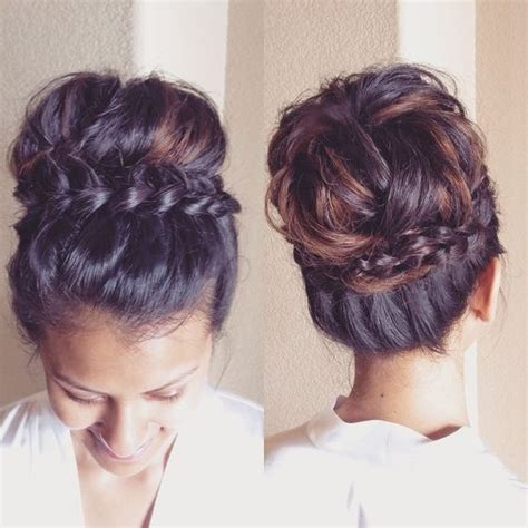 Sock Bun Hairstyles by Best 25 Braided Updo Ideas On Bridesmaid Hair
