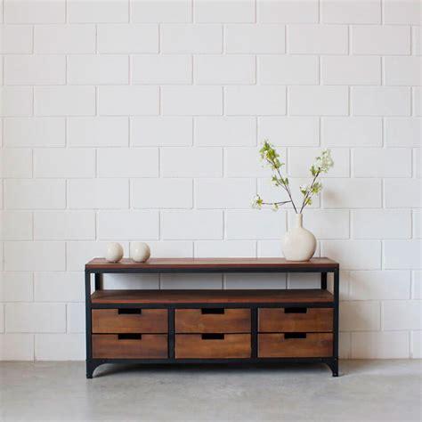 muebles de madera y hierro mueble lcd 6 cajones hierro y madera estacion ortiz