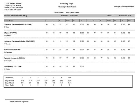 powerschool report card templates sle report cards sle homeschool report card 5