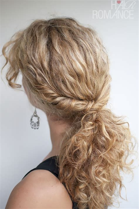 thin and slight curly pony hairstyles curly hairstyle tutorial the twist over ponytail hair