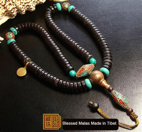 Handmade Mala - handmade tibetan 10mm coconut shell copper mala 108