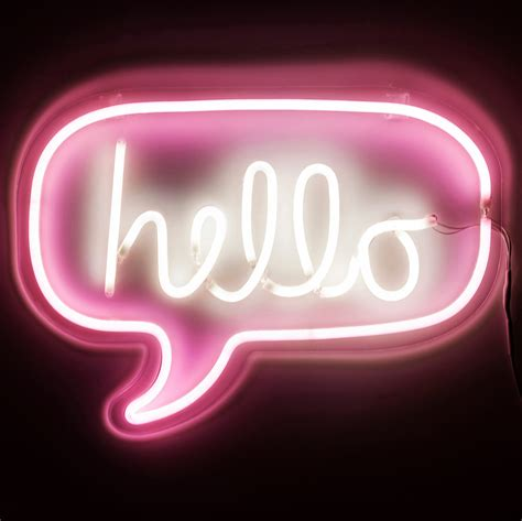 neon pink hello wall light for by recipient