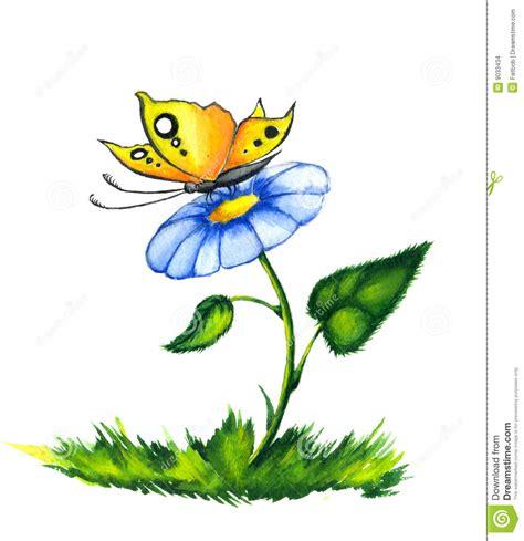 tekening vlinder met bloem vlinder op kleurrijke bloem stock illustratie
